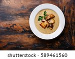 cream soup with porcini... | Shutterstock . vector #589461560