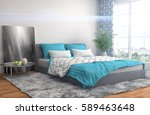 bedroom interior. 3d... | Shutterstock . vector #589463648