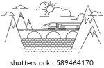 mountain train on railway on... | Shutterstock .eps vector #589464170