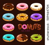 colorful set of glazed donuts... | Shutterstock .eps vector #589464704