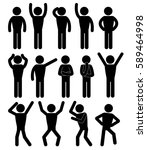 stick figure positions set... | Shutterstock .eps vector #589464998
