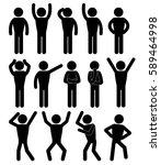 stick figure positions set...   Shutterstock .eps vector #589464998
