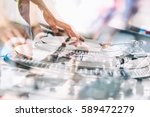 moscow 6 august 2016  dj play... | Shutterstock . vector #589472279