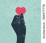 hand holding heart symbol with... | Shutterstock . vector #589477778