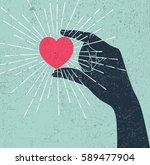 hand holding heart symbol with... | Shutterstock . vector #589477904