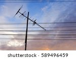 analog tv antenna with blue sky ... | Shutterstock . vector #589496459