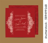 red wedding invitation with... | Shutterstock .eps vector #589499168