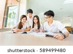 group of asian student happy in ... | Shutterstock . vector #589499480