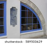 windows of bakery with baskets... | Shutterstock . vector #589503629