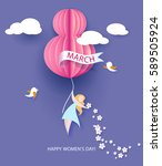 card for 8 march women's day.... | Shutterstock .eps vector #589505924