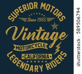 california vintage motorcycle ... | Shutterstock .eps vector #589506794