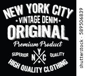 new york city vintage denim ... | Shutterstock .eps vector #589506839