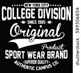 nyc college division  authentic ... | Shutterstock .eps vector #589506854