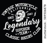 california vintage motorcycle ... | Shutterstock .eps vector #589506878