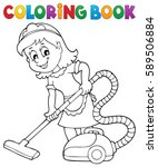 coloring book cleaning lady 1   ... | Shutterstock .eps vector #589506884