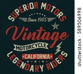 california vintage motorcycle ... | Shutterstock .eps vector #589506998