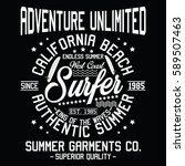 california authentic summer ... | Shutterstock .eps vector #589507463