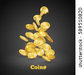 gold coins falling down. coin... | Shutterstock .eps vector #589510820