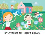 landscape with cute children in ... | Shutterstock .eps vector #589515608