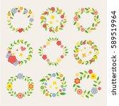 decorative floral wreaths flat... | Shutterstock .eps vector #589519964