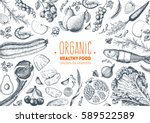 healthy food frame vector... | Shutterstock .eps vector #589522589