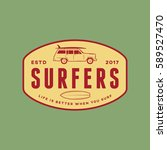 surfing logo. vintage outdoor... | Shutterstock .eps vector #589527470