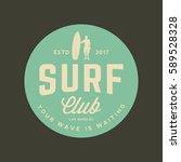 surfing logo. vintage outdoor... | Shutterstock .eps vector #589528328