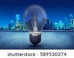 light bulb on building balcony...   Shutterstock . vector #589530374
