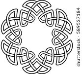 monochrome round celtic pattern.... | Shutterstock .eps vector #589537184