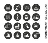 industry icon set in circle... | Shutterstock .eps vector #589537220