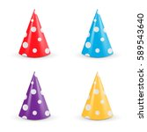 realistic party hat set.... | Shutterstock .eps vector #589543640