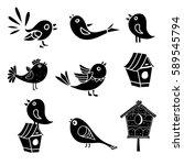Birds  Bird House Cartoon Set...