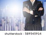 double exposure of businessman... | Shutterstock . vector #589545914