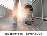 close up on running shoes.... | Shutterstock . vector #589546028