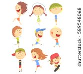 small kids playing and running  ... | Shutterstock .eps vector #589548068