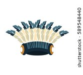 tall war bonnet with feathers ... | Shutterstock .eps vector #589548440