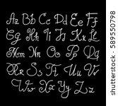 elegant handwritten letters....   Shutterstock .eps vector #589550798