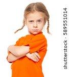 little girl at yellow jeans.... | Shutterstock . vector #589551014