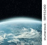 earth globe in the deep space.... | Shutterstock . vector #589552400
