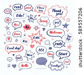 handwriting set of speech... | Shutterstock .eps vector #589557206