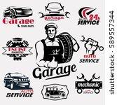 auto service and garage retro... | Shutterstock .eps vector #589557344