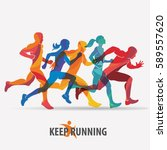 running people set of... | Shutterstock .eps vector #589557620