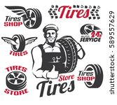 tires shop or service retro... | Shutterstock .eps vector #589557629