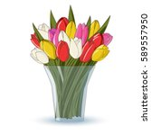 different colors tulips spring... | Shutterstock .eps vector #589557950