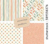 set of 4 vintage seamless... | Shutterstock .eps vector #589558376