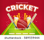 cricket event poster background ... | Shutterstock .eps vector #589559444