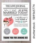pink blue wedding template...   Shutterstock .eps vector #589565774