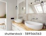 Minimalist Bathroom With Two...