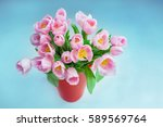 Pink Tulips On The White And...