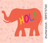 elephant silhouette with the... | Shutterstock .eps vector #589573760